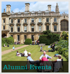 "People sitting in Scholars' garden with text ""Alumni Events"""