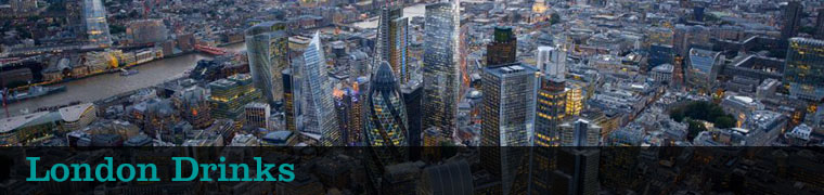 aerial photo of the london skyline with text 'london drinks'
