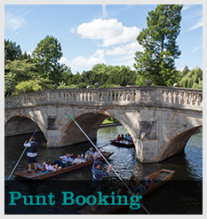 Punts approaching Clare Bridge with text 'Punt Booking'