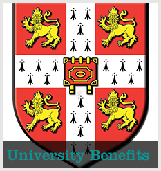 The University Crest with text 'University Benefits'