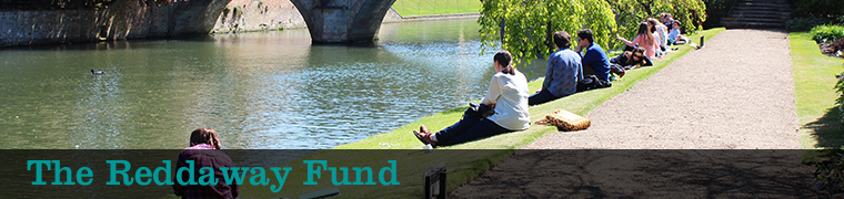 "Students studying by the riverbank with the text ""The Reddaway Fund"""